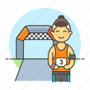 competition, male, marathon, number, race, road, running, sports, start icon