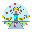 1, competition, finish, goal, male, race, road, running, sports, winner icon