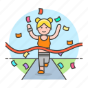 2, competition, female, finish, goal, race, road, running, sports, winner icon