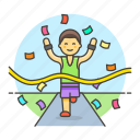 competition, finish, goal, male, race, road, running, sports, winner icon