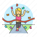 competition, female, finish, goal, race, road, running, sports, winner icon