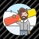 1, covered, half, male, rider, slope, snow, snowboard, sports, winter icon