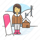 covered, female, full, mountain, rider, slope, snow, snowboard, sports, winter icon