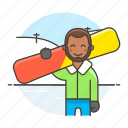 2, covered, half, male, rider, slope, snow, snowboard, sports, winter icon