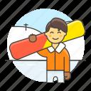 3, covered, half, male, rider, slope, snow, snowboard, sports, winter icon