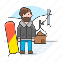 covered, full, male, mountain, rider, slope, snow, snowboard, sports, winter icon