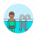ladder, male, pool, sports, swimmer, swimming, swimwear, water icon