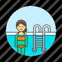 female, ladder, pool, sports, swimmer, swimming, swimwear, water icon