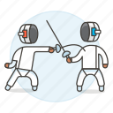 3, equipment, fencing, fighting, gear, sports, sword, swordsmanship, touch, touche icon