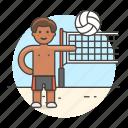 ball, beach, male, match, net, sports, swimwear, volleyball icon