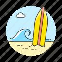 beach, ocean, sea, shore, sports, surf, surfboard, surfing, water, wave icon