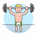 1, barbell, bodybuilder, fitness, male, sports, strentgh, training, weight icon