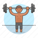3, barbell, bodybuilder, fitness, male, sports, strentgh, training, weight icon