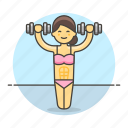 barbell, bodybuilder, female, fitness, sports, strentgh, training, weight icon