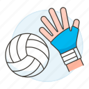 1, apparel, ball, equipment, gear, glove, hand, hit, sports, volleyball icon