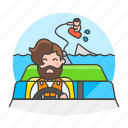 1, boat, driver, male, motorboat, ridder, sports, wakeboarding, water icon