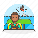 2, boat, driver, male, motorboat, ridder, sports, wakeboarding, water icon