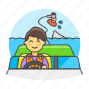 3, boat, driver, male, motorboat, ridder, sports, wakeboarding, water icon