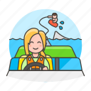 boat, driver, female, motorboat, ridder, sports, wakeboarding, water icon