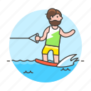 athlete, board, male, ridder, sports, wakeboard, wakeboarding, water icon