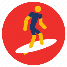 games, sports, surfing icon