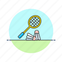 badminton, equipment, exercise, play, racket, sports, train icon