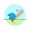 ball, baseball, bat, equipment, game, helmet, sports icon