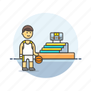 ball, basketball, game, man, play, sports, stadium icon