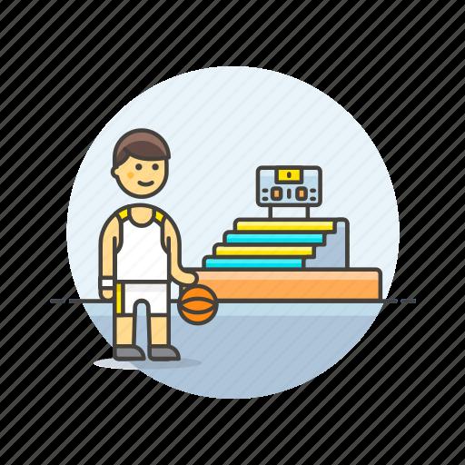 ball, basketball, game, man, play, sports, stadium icon