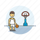 basketball, game, man, play, score, sports, street icon