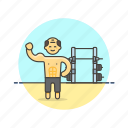 beach, body, builder, exercise, man, sports, train, workout icon
