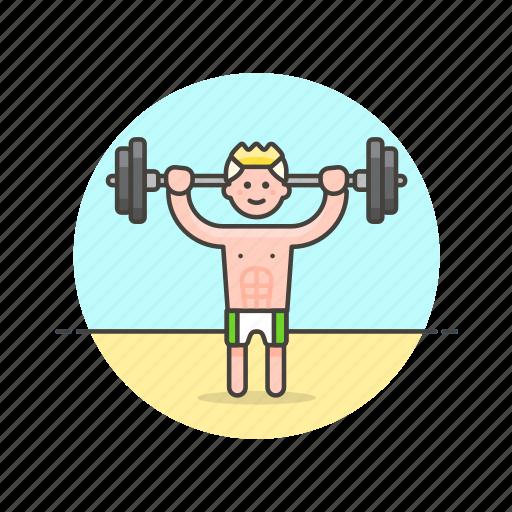 beach, body, builder, lift, man, sports, train, weight icon