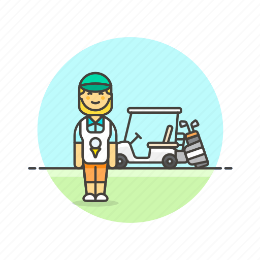 caddie, court, equipment, golf, play, sports, vehicle, woman icon