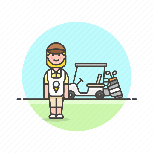 caddie, equipment, golf, play, sports, vehicle, woman icon