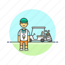 caddie, equipment, golf, man, sports, vehicle icon