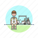 caddie, equipment, golf, man, play, sports, vehicle icon