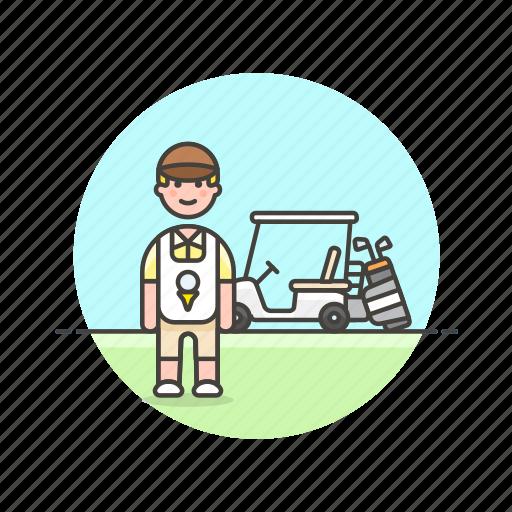caddie, equipment, golf, man, play, sports, vehicle icon