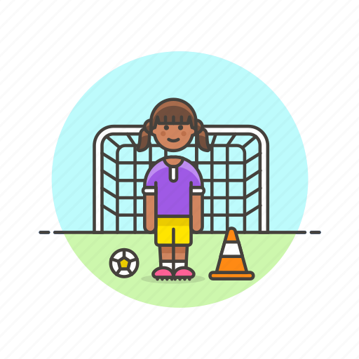 ball, football, goal, net, soccer, sports, woman icon