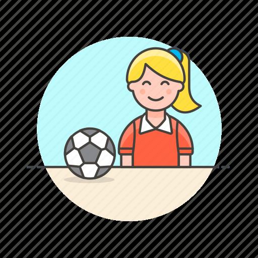 ball, football, game, play, score, sports, woman icon