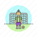 ball, football, goal, man, net, score, sports icon