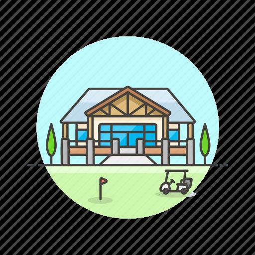 building, caddie, flag, golf, house, sports icon