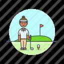 sports, play, ball, golf, flag, woman, hole icon