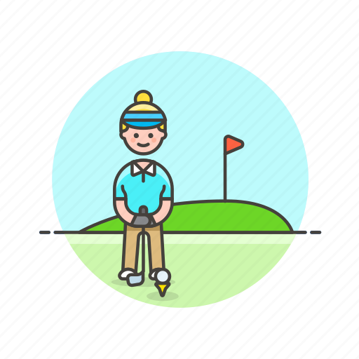 ball, flag, golf, hole, play, sports, woman icon