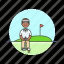 sports, play, ball, golf, flag, hole, man icon