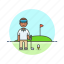 ball, flag, golf, hole, man, play, sports icon