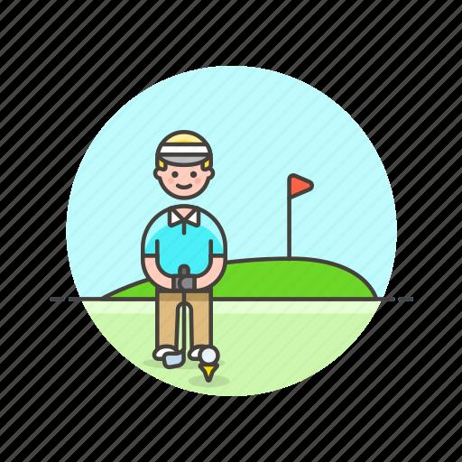 ball, flag, golf, hole, man, play, sports icon