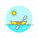 canoe, kayak, paddle, row, sports, sun, water icon