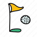 activity, ball, flag, golf, hole, sport, sports icon