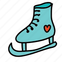 heart, ice, shoe, skates, sports icon