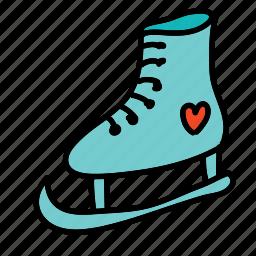 heart, ice, shoe, skates, sports icon